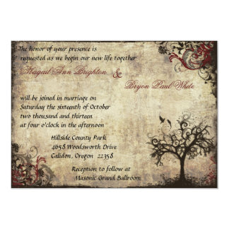 Vintage New Life Wedding Invitation in Wine