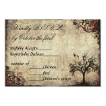 "Vintage New Life Wedding Invitation RSVP in Wine 3.5"" X 5"" Invitation Card"