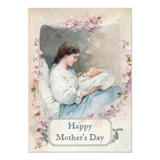 Vintage New Mother and Child with Custom Text Card