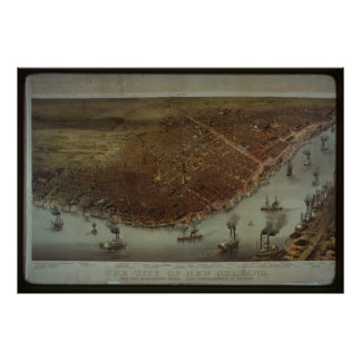 Vintage New Orleans City View - 1885 Poster