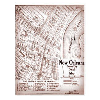 Vintage New Orleans Downtown 1920 Map Postcard