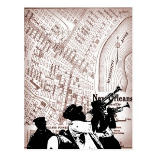 Vintage New Orleans Map Postcard
