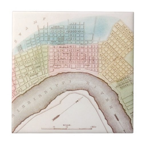 Vintage New Orleans Map The Big Easy Memory Tile