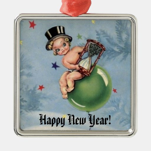 Vintage New Year Baby Square Metal Christmas Ornament Zazzle