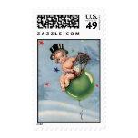 Vintage New Year Baby Postage Stamp