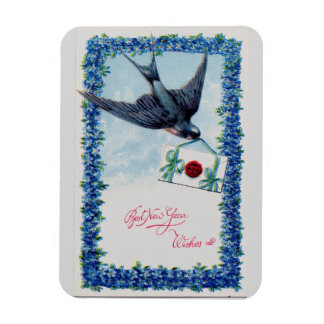 Vintage New Year Bird Rectangular Photo Magnet
