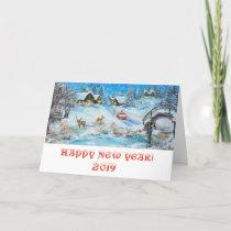 Vintage new year card. 2019 calendar. invitation