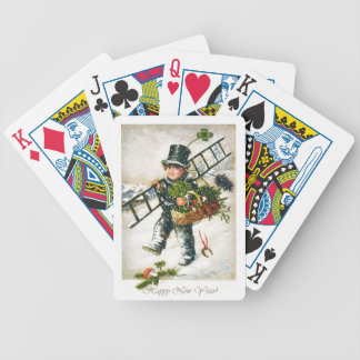 Vintage New Year Chimneysweep Boy Bicycle Playing Cards