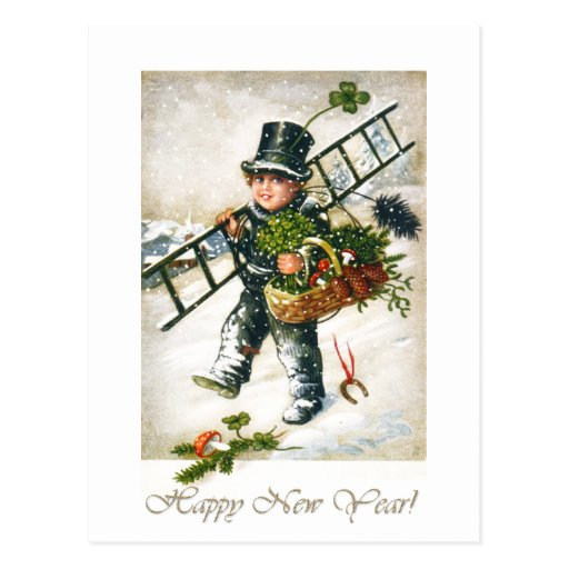 Vintage New Year Chimneysweep Boy Postcard