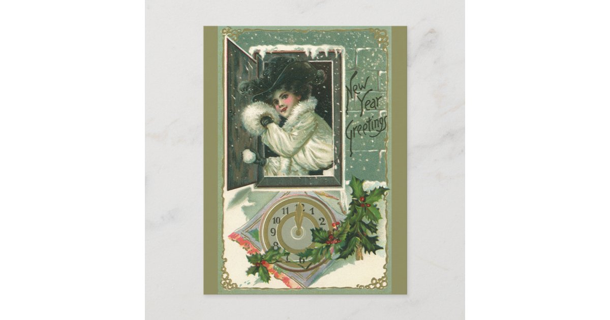 vintage new year greetings victorian window girl holiday postcard zazzlecom