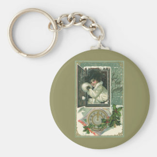Vintage New Year Greetings, Victorian Window Girl Keychain