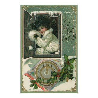Vintage New Year Greetings, Victorian Window Girl Poster