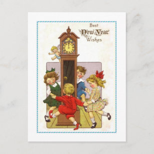vintage new year holiday postcard
