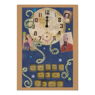 """Vintage New Year Invitation (double sided) 5"""" X 7"""" Invitation Card"""