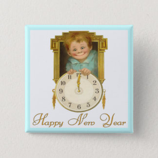 Vintage New Year Pinback Button