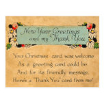 Vintage New Years and Thank You Postcard