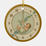 Vintage New Years Baby Clock Christmas Ornaments