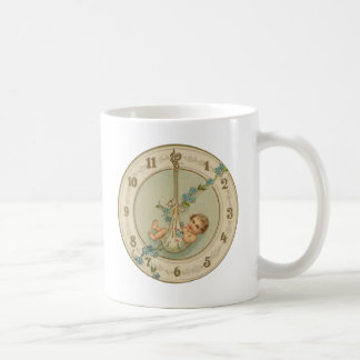 Vintage New Years Baby Clock Coffee Mug