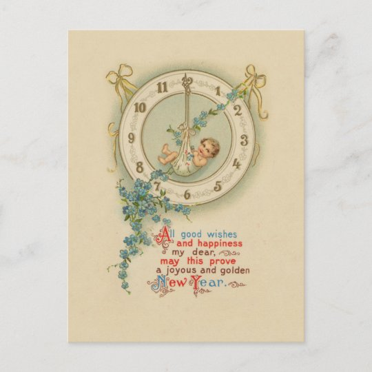 Vintage New Years Baby Clock Holiday Postcard | Zazzle.com