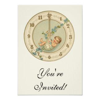 "Vintage New Years Baby Clock 5"" X 7"" Invitation Card"