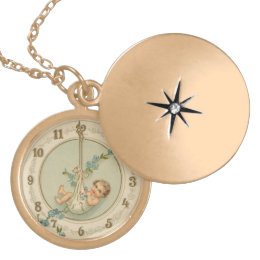 Vintage New Years Baby Clock Locket Necklace