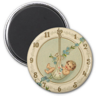 Vintage New Years Baby Clock Magnet