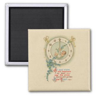 Vintage New Years Baby Clock Fridge Magnets