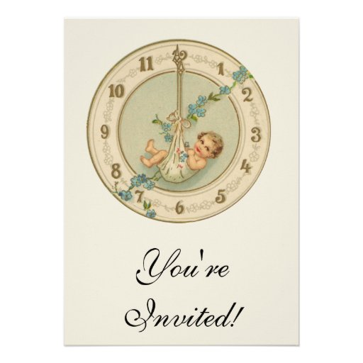 Vintage New Years Baby Clock Personalized Invite