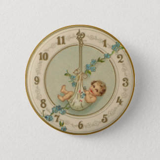 Vintage New Years Baby Clock Pinback Button