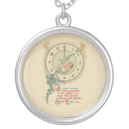 Vintage New Years Baby Clock Silver Plated Necklace