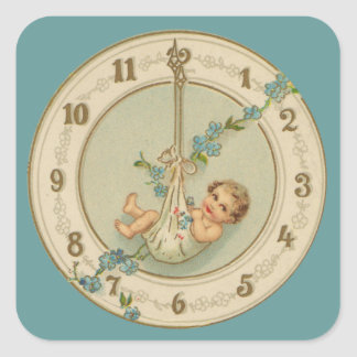 Vintage New Years Baby Clock Square Sticker