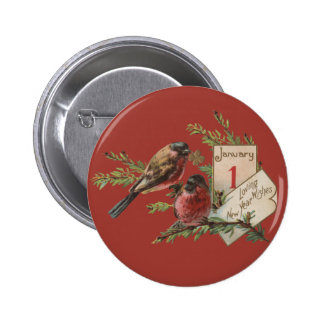 Vintage New Years Birds Button