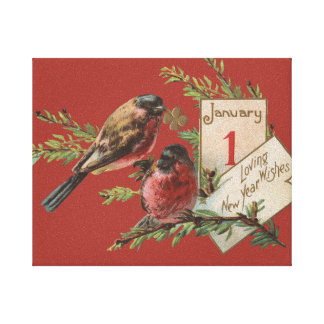Vintage New Years Birds Gallery Wrap Canvas