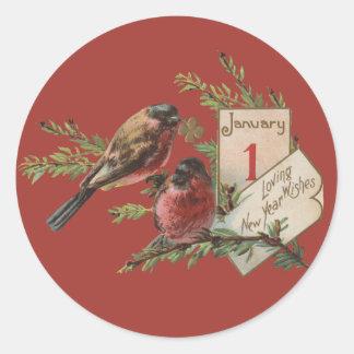 Vintage New Years Birds Classic Round Sticker