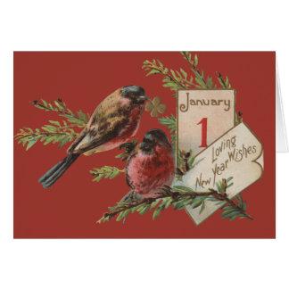 Vintage New Years Birds Greeting Card