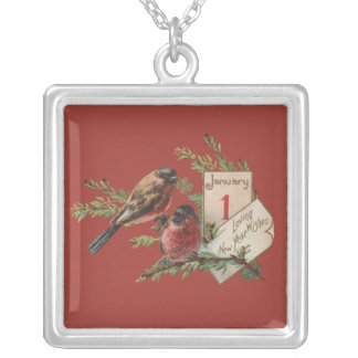 Vintage New Years Birds Silver Plated Necklace