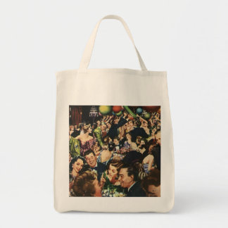 Vintage New Year's Eve Party Grocery Tote Bag