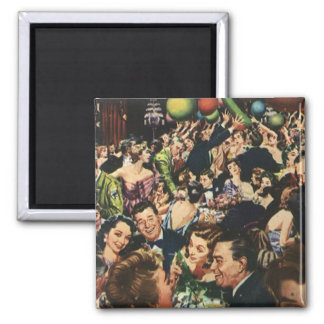 Vintage New Year's Eve Party 2 Inch Square Magnet