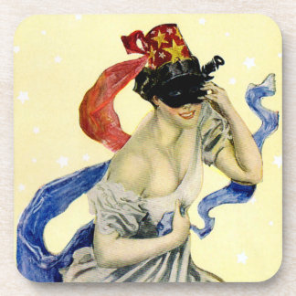 Vintage New Year's Eve Patriotic Masquerade Party Drink Coaster