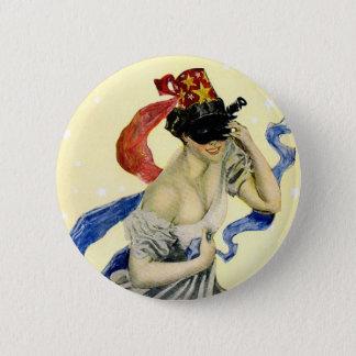 Vintage New Year's Eve Patriotic Masquerade Party Pinback Button