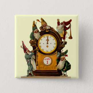 Vintage New Years Eve Square Button