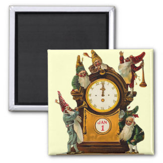 Vintage New Years Eve Square Magnet
