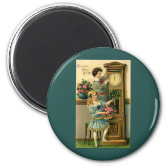 Vintage New Years Eve Victorian Children and Clock 2 Inch Round Magnet