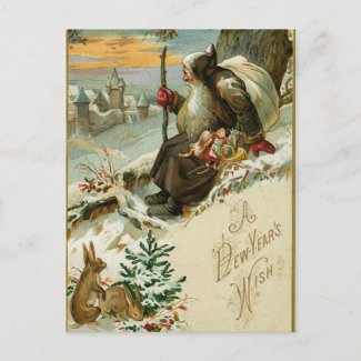 Vintage New Years Santa Holiday Postcard