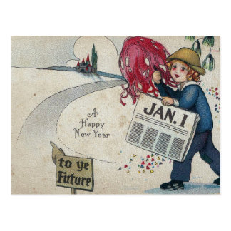 Vintage New Years To The Future Jan. 1 Postcard