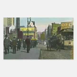 Vintage New York City 1900 Trolley Rectangular Sticker
