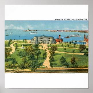 Vintage New York City, acuario, parque de batería Poster