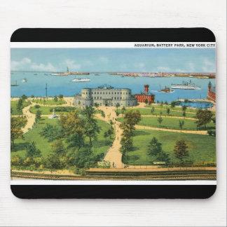 Vintage New York City, acuario, parque de batería Alfombrilla De Raton
