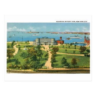 Vintage New York City, acuario, parque de batería Postal