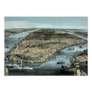 Vintage New York City Circa 1850 Poster